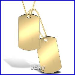 Jewelco London 9ct Gold Military Dog Tag 3mm Bead Chain Necklace, 24 + 4