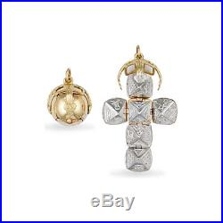 Jewelco London 9ct Gold & Silver Golden Globe Cross Masonic Orb Ball Pendant