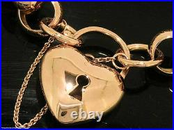 L01 SOLID 9ct ROSE Gold Belcher Heart Padlock Bracelet HEAVY 45gr 19cm long