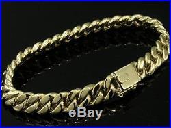 L019- HEAVY & Thick GENUINE 9ct SOLID Gold MENS CURBLINK Bracelet 22cm 45gr curb