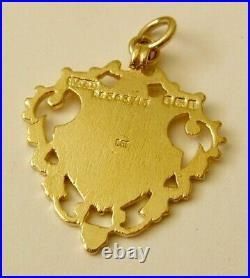 LARGE GENUINE SOLID 9K 9ct YELLOW GOLD ALBERT FOB CHAIN SHIELD PENDANT