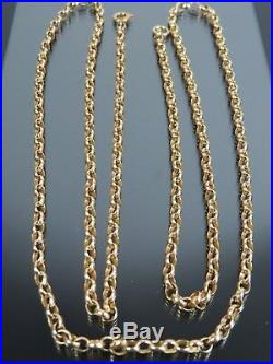LONG VINTAGE 9ct GOLD BELCHER LINK NECKLACE CHAIN 31 inch 1978