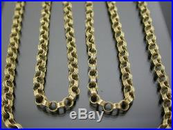LONG VINTAGE 9ct GOLD FANCY BELCHER LINK NECKLACE CHAIN 32 inch 1976