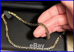 +++ LOVELY HEAVY SOLID 9 CT GOLD BYZANTINE LINK 21 INCH CHAIN+++OVER 50 GRAMS+++