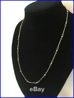 LOVELY LADIES VINTAGE 9CT GOLD FANCY BATON and BALL LINK NECKLACE CHAIN 18