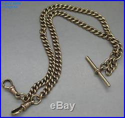 LUXURY SOLID 9CT GOLD ALBERT CHAIN WITH T-BAR & DOUBLE CLASPS, 37g, B&S, c1910