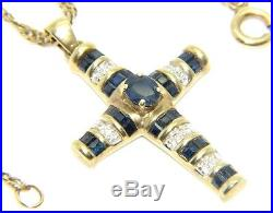 Ladies 9carat 9CT Gold Chain & Cross with Diamonds and Sapphires