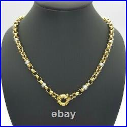Ladies Belcher Chain 9ct (375,9K) Yellow Gold White Gold Diamante Link Chain