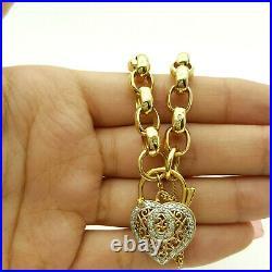 Ladies Bracelet 9ct (375, 9K)Yellow Gold Belcher Chain With Diamond Heart Lock