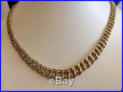 Ladies Fancy Double Link Hallmarked Vintage Heavy 9ct Gold Chain Necklace