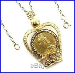 Ladies/womens 22ct gold full sovereign pendant with a 9ct gold belcher chain