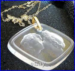Lalique Crystal Lovers Pendant 9 Ct Gold Chain Outstanding