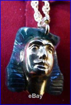 Large antique 18 carat gold Egyptian revival pharaoh head pendant + 9ct chain