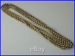 Long Guard Muff Chain Exceptional Quality Victorian 9ct Gold 61 Long 38.6 Grams