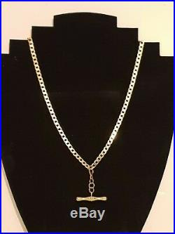 Lovely! 9 Ct Gold Flat Link Curb Necklace & T-bar