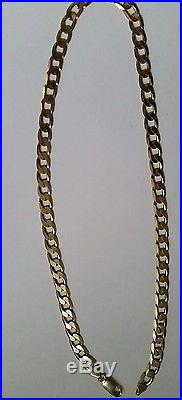 Lovely 9ct Gold 20.5ins long flat curb chain 33.5 grams. Great condition