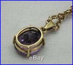 Lovely 9ct Gold Amethyst Solitaire Pendant And Chain