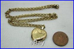 Lovely 9ct Gold Engraved Heart Locket And Chain