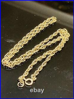 Lovely 9ct gold Rope link chain necklace. Hallmarked, 15 In Excellent Cond