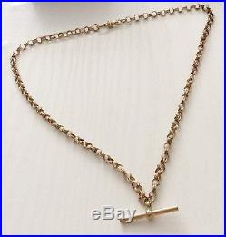 Lovely Quality Full Hallmarked Nice Solid 9ct Gold Double Link T Bar Necklace