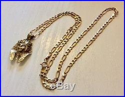 Lovely Vintage Solid 9CT Gold Egyptian Pharaoh Head Pendant on 9CT Chain 18 inch