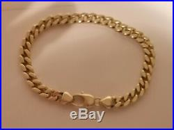 Lovely condition Mens Bracelet Heavy Chain 9Yellow Gold 9ct 375, Solid 31.2g
