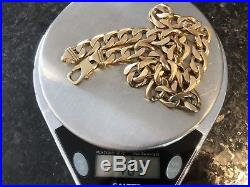Lovely solid 9ct gold men's flat curb chain 183g