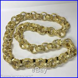 MASSIVE 15 oz MENS SOLID KNUCKLE DUSTER BELCHER CHAIN 9CT GOLD ON 925 SILVER
