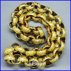 MASSIVE 20oz MENS SOLID ROLEX CROWN BELCHER CHAIN BIG 9CT GOLD ON SOLID SILVER