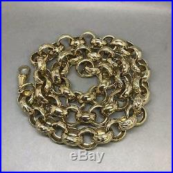 MENS 151.4g PATTERNED & PLAIN BELCHER CHAIN 9CT GOLD ON JEWELLERS BRONZE