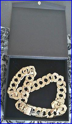 MENS GOLD SQUARE CURB CHAIN HEAVY 400g 9ct GOLD NECKLACE CHAIN 29/30 INCH