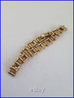 MENS RARE 9ct Gold bike Chain bracelet 37g Length 8.5 inches Width 9mm