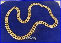 MENS Solid 9ct Gold Flat CURB CHAIN NECKLACE 22 inch 77gr 10mm cx680