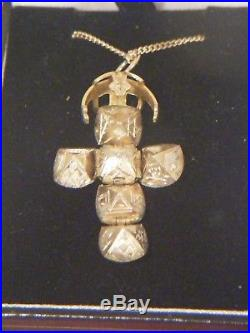 Masonic Orb Cross Gold On Silver Ball And 9ct Gold Chain
