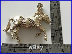 Massive 9ct gold heavy horse pendant not scrap 53.4 grams Gypsy Bling