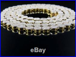Men's 10K Yellow Gold Pave 6MM Genuine Diamond Cluster Chain Necklace 9 ct 24