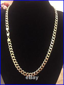Men's Heavy 9CT Gold Curb Chain. 79.6 Grams. 24 Inch