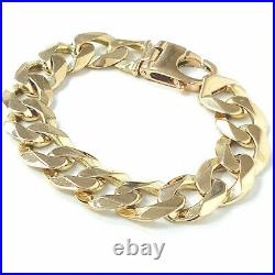 Men's Heavy Gold Curb Bracelet Solid 9ct 17.2mm Hallmarked 90.7g 9 Inches