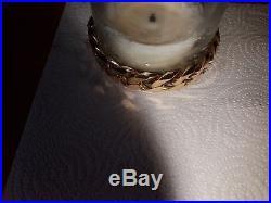 Men's Heavy Solid 9Ct Gold Flat Curb Link Bracelet, 153.6grams