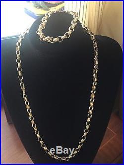 Men's/ Ladies Beautiful Heavy 9CT Gold Belcher Chain And Bracelet 85 grams