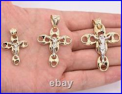 Men's Puffed Mariner Crucifix Jesus Pendant Charm Real 10K Yellow White Gold