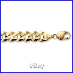 Men's Solid 20 Inch 51.3g 10mm 9ct Gold Flat Bevelled Curb Chain