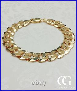 Men's Solid 9ct Yellow Gold Curb Bracelet 8.5