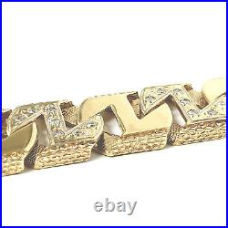 Men's Solid Gold Square Link Bracelet Cubic Zirconia 90.8g 9ct Yellow Gold 8.5