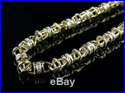 Mens 14k Yellow Gold Bullett Link 5.5 MM Real Diamond Chain Necklace 9 ct 30