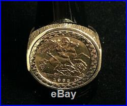 Mens 22ct Gold 1982 Half Sovereign 9ct Ring Mount Gift Not Keeper / Chain