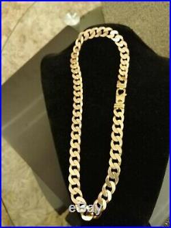 Mens 9 Ct Gold Heavy Curb Chain. 204 Grams. 24 Inch