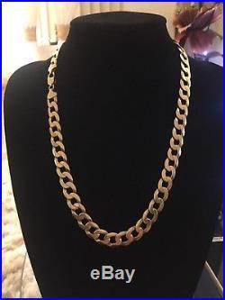 Mens 9CT Gold Heavy Curb Chain. 89 Grams. 23 Inch