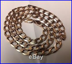 Mens 9ct Gold 375 Solid Heavy Curb Chain Necklace 22 Inch Long 28.55 Grams