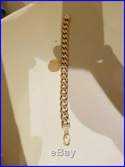 Mens 9ct Gold Hallmarked Curb Chain Link Bracelet Pre-owned 50.2gram